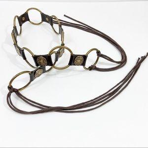 Boho Brown Vegan Leather Gold Coin & Fringe Belt